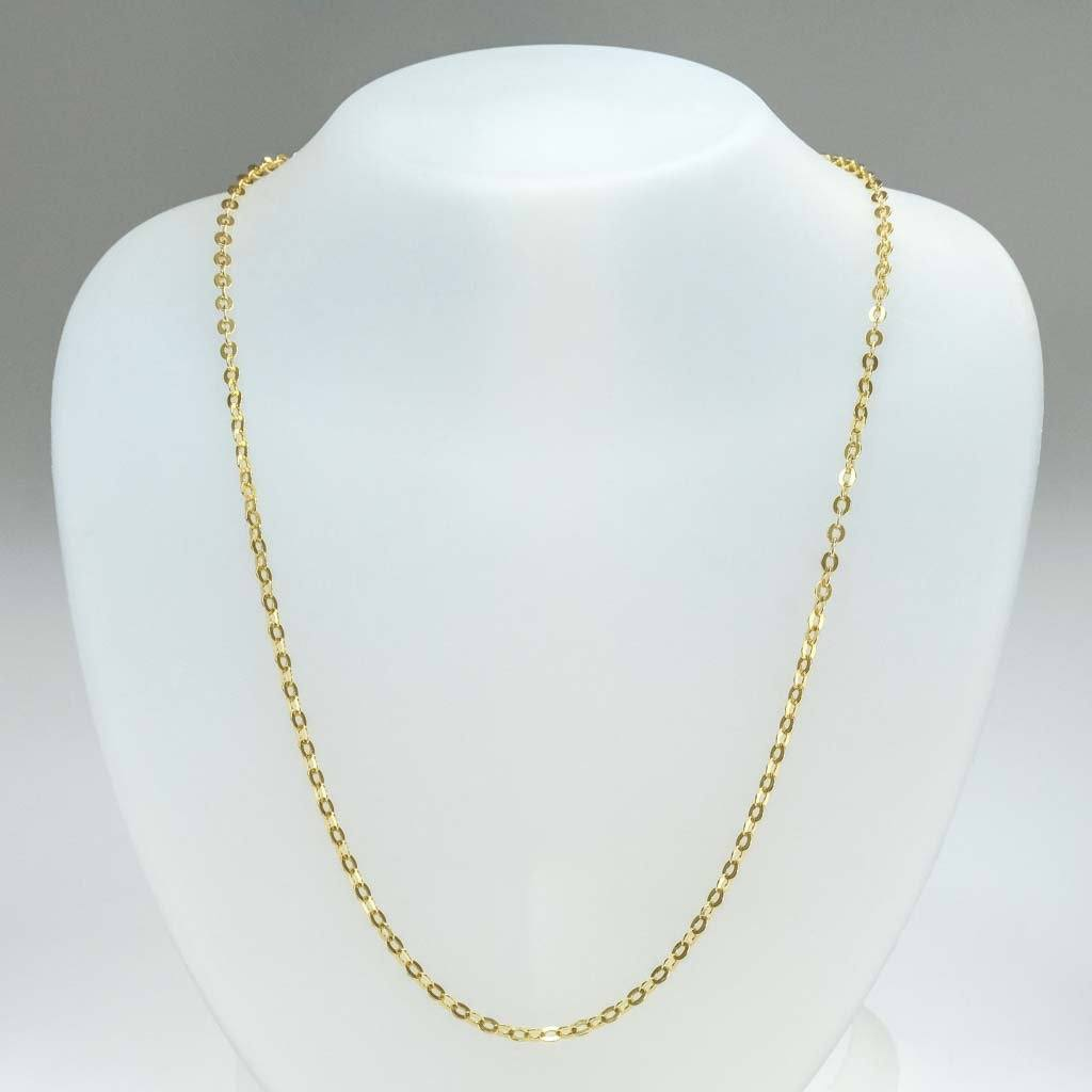 "2.25mm Wide Flat Oval 23"" Necklace in 18K Yellow Gold Chains Oaks Jewelry"