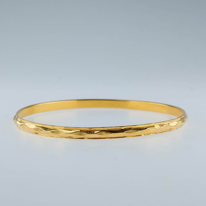 "22K Yellow Gold 3.3mm Wide Solid Petite Slip-on 6.75"" Bangle Bracelet 12.2 grams Bracelets Oaks Jewelry"