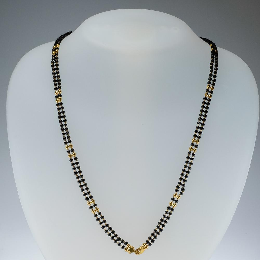 "22K Yellow Gold Two Strand Gold & Onyx Bead Link 28"" Necklace - 19.3 grams Necklaces Oaks Jewelry"