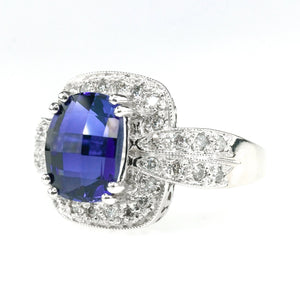 2.30ct Created Sapphire w/ Diamond Accents Gemstone Ring in 14K White Gold Gemstone Rings Oaks Jewelry