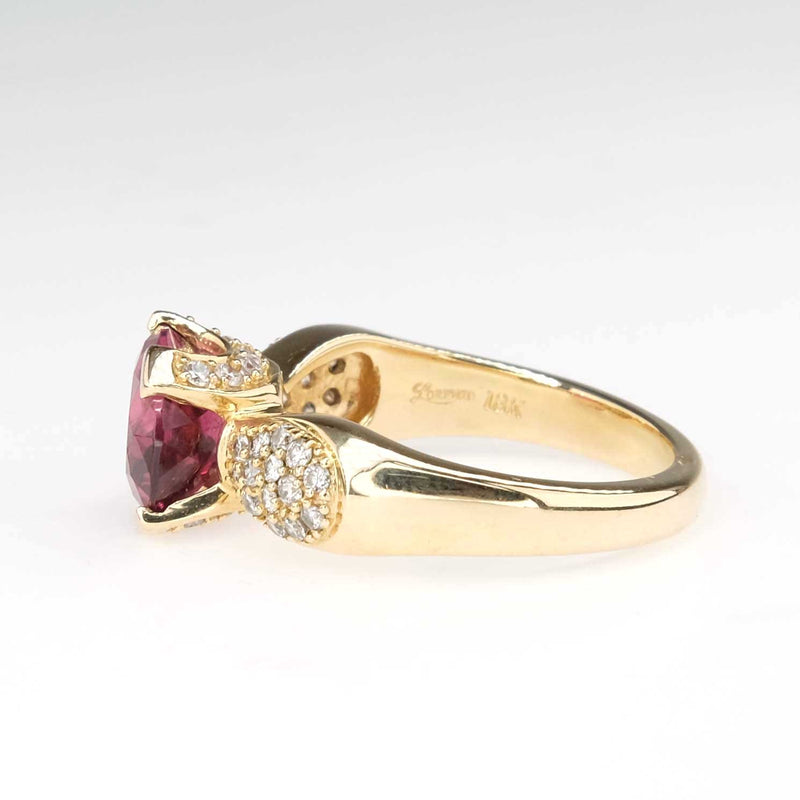 2.30ct Oval Tourmaline & Diamond East-West Ring in 18K Yellow Gold Gemstone Rings Oaks Jewelry