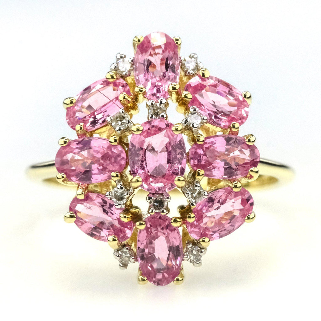 2.33ctw Natural Pink Sapphire & Diamond Accented Cluster Ring in 10K Yellow Gold Gemstone Rings Oaks Jewelry