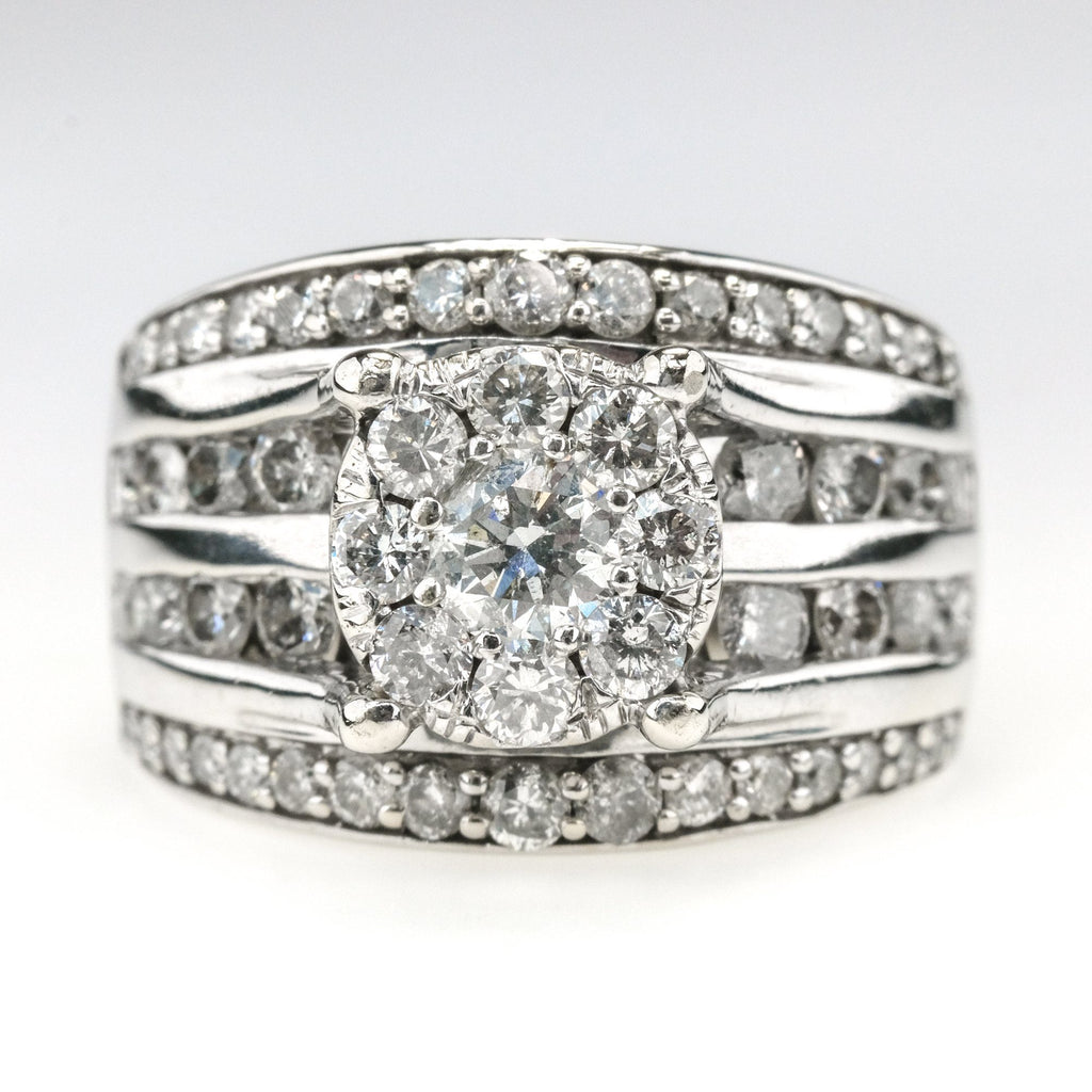 2.3ctw Round Diamond Accented Cluster Halo Engagement Ring in 10K White Gold Engagement Rings Oaks Jewelry