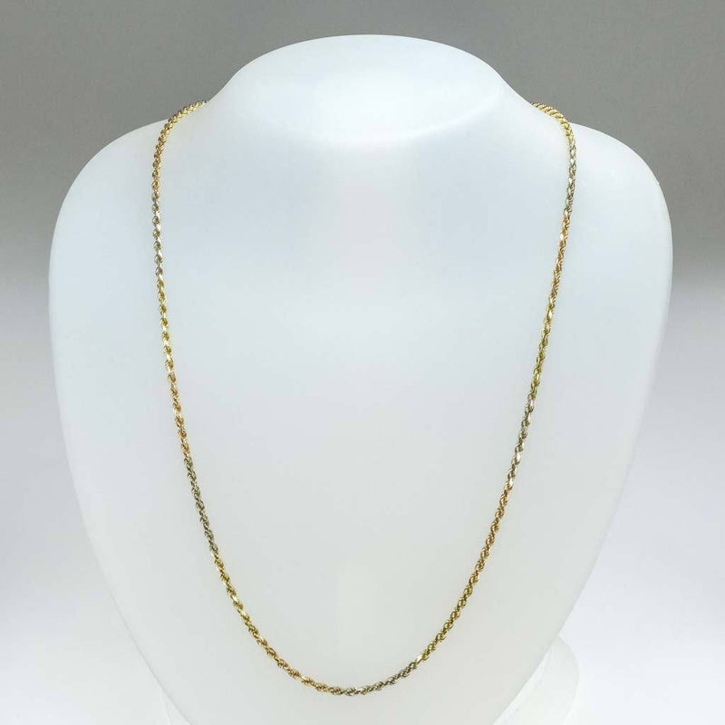 "2.3mm Wide Diamond Cut Rope 24"" Chain in 14K Two Tone Gold Chains Oaks Jewelry"