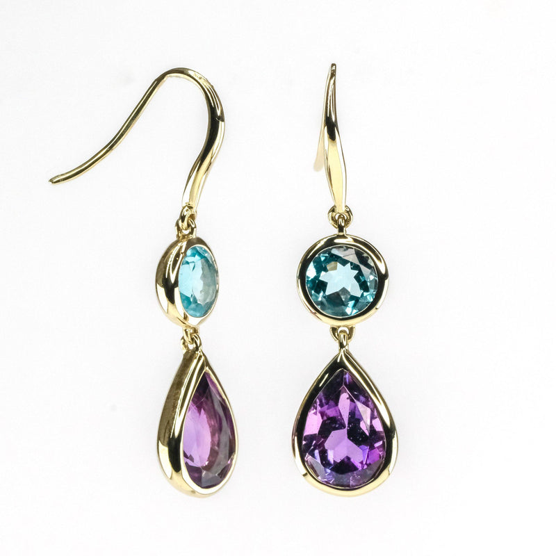 2.50ctw Amethyst w/ Blue Topaz Drop Dangle Gemstone Earring in 14K Yellow Gold Earrings Oaks Jewelry