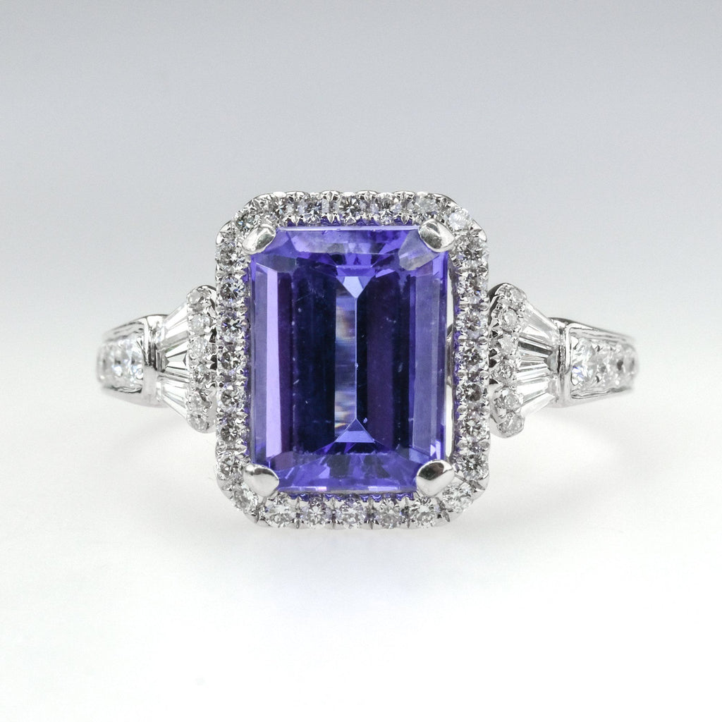 2.60ct Tanzanite & Diamond Accented Halo Gemstone Ring Size 7 in 18K White Gold Gemstone Rings Oaks Jewelry