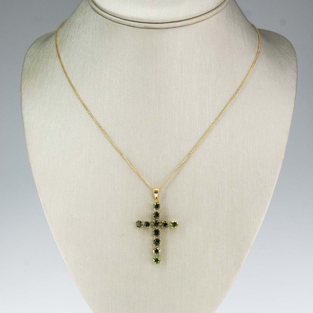 "2.75ctw Tourmaline Cross Pendant & 30"" Box Chain Necklace in 18K Yellow Gold Pendants with Chains Oaks Jewelry"