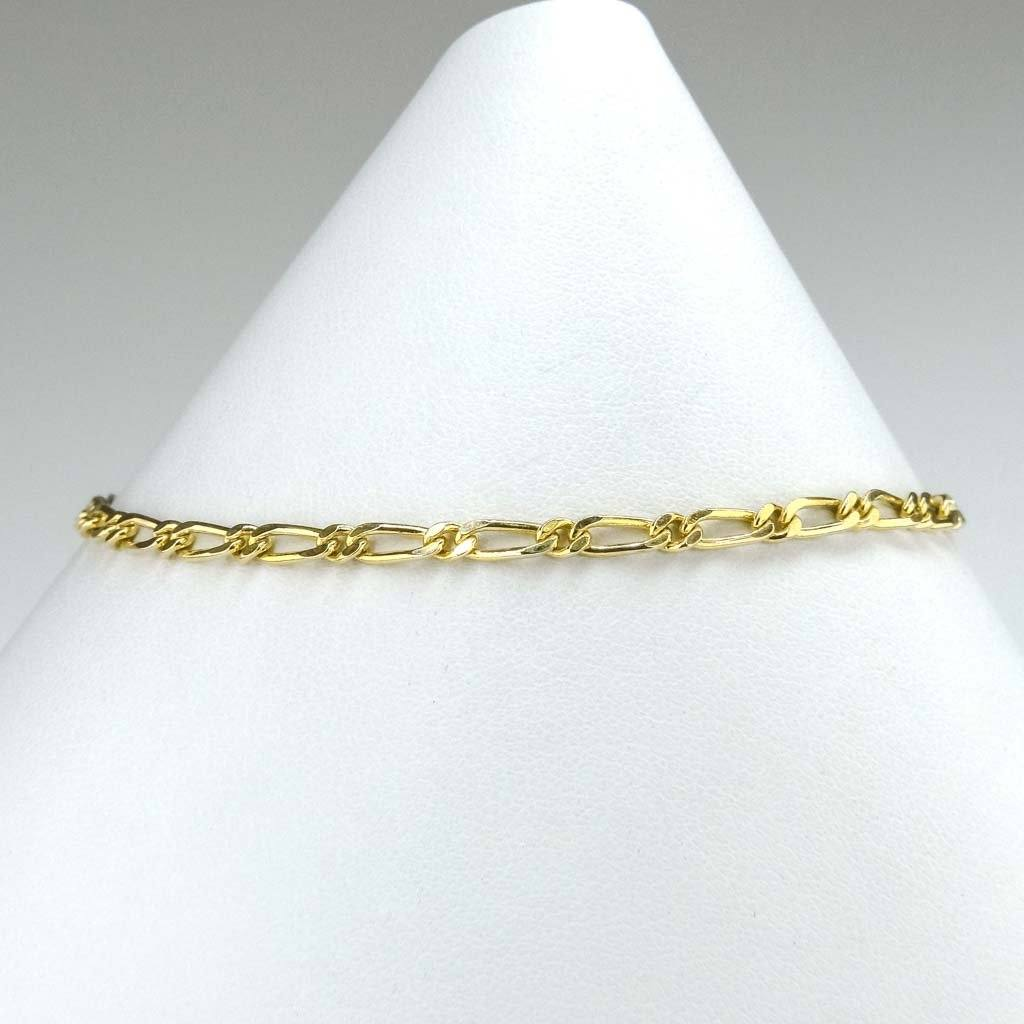 "2.7mm Wide Modified Figaro 8"" Bracelet in 14K Yellow Gold Bracelets Oaks Jewelry"