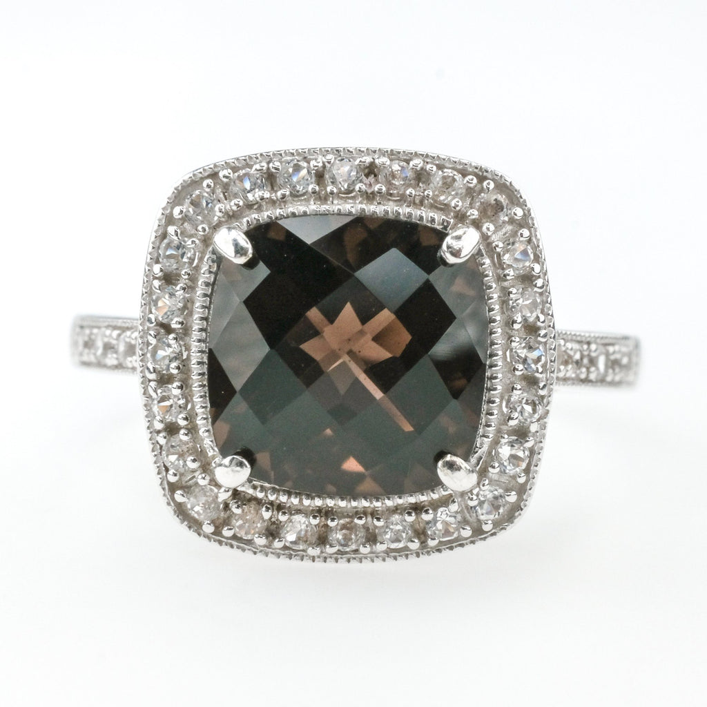 2.85ct Smokey Quartz w/White Topaz Accented Halo Gemstone Ring in 14K White Gold Gemstone Rings Oaks Jewelry