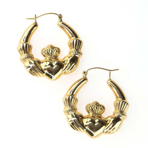 29mm Hollow Claddagh Hoop Earrings in 14K Yellow Gold Earrings Oaks Jewelry