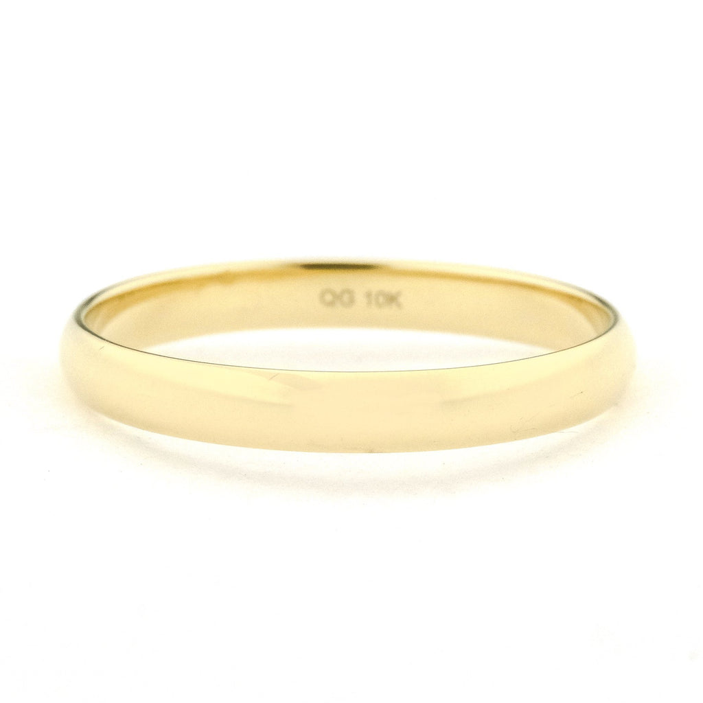 2.9mm Wide Half Round High Polished Wedding Band Ring in 10K Yellow Gold Wedding Rings Oaks Jewelry