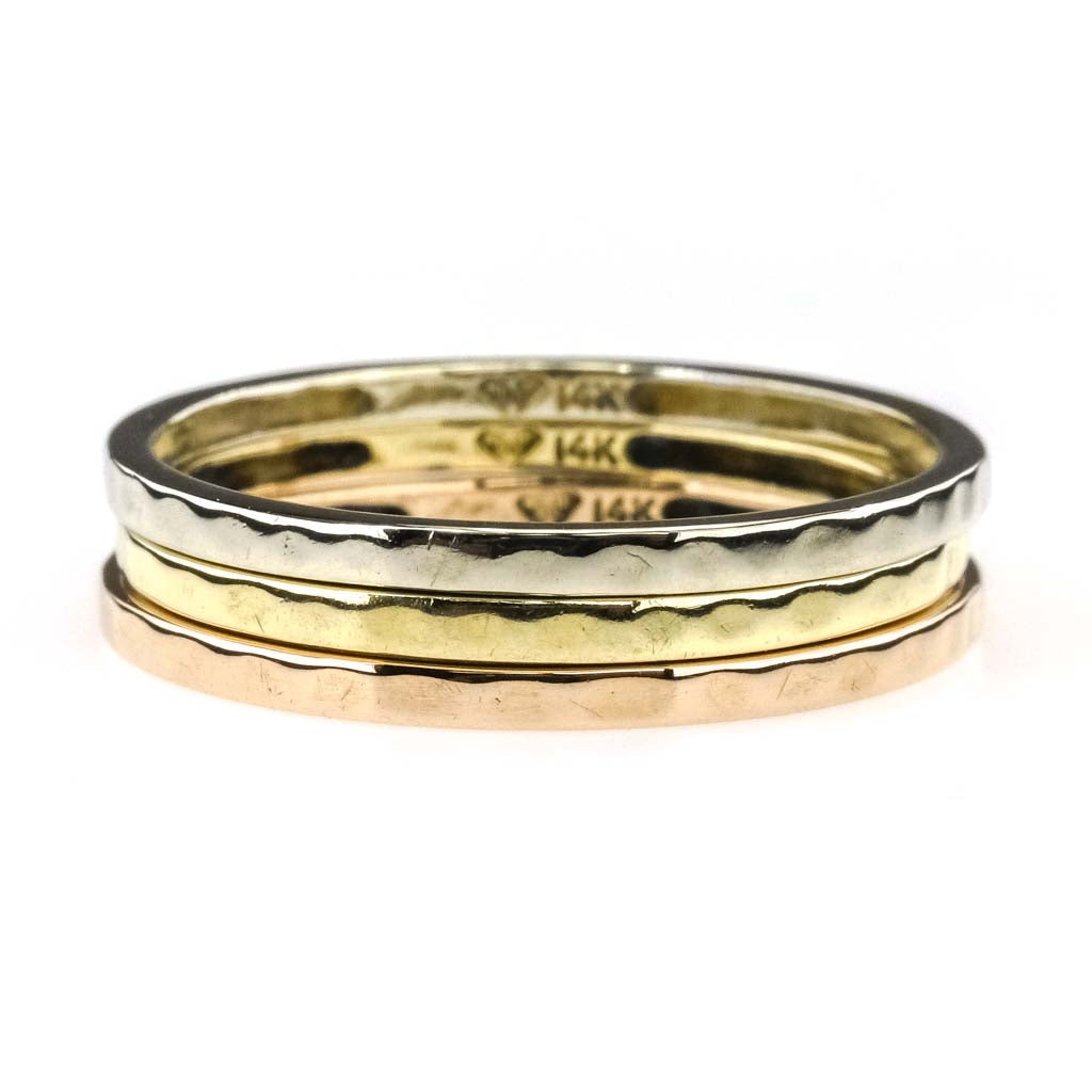 Hammered Stackable Three Rings in 14K Tri Gold