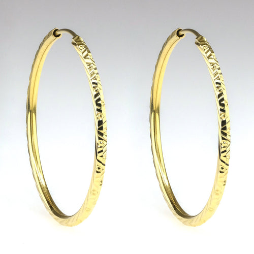 2mm Wide Diamond Cut Continuous Hoop Earrings in 14K Yellow Gold Earrings Oaks Jewelry