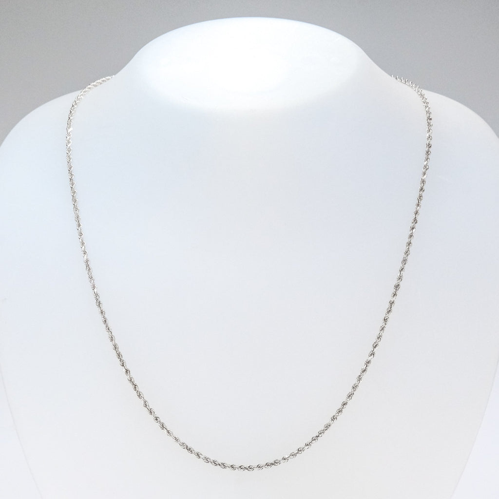 "2mm Wide Rope Link 20"" Chain in 14K White Gold - 7.2 grams Chains Oaks Jewelry"