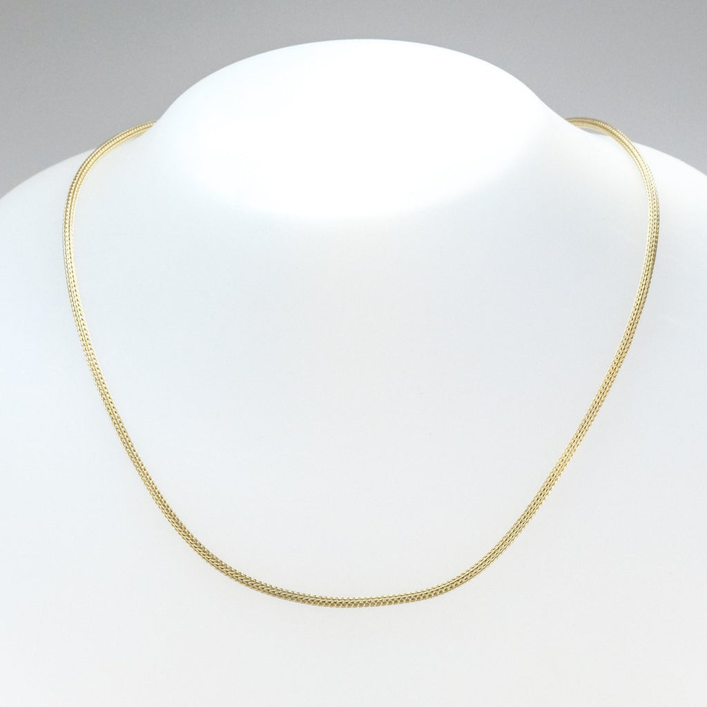 "2mm Wide Rounded Wheat Link 17"" Chain Necklace in 14K Yellow Gold - 6.1 grams Chains Oaks Jewelry"
