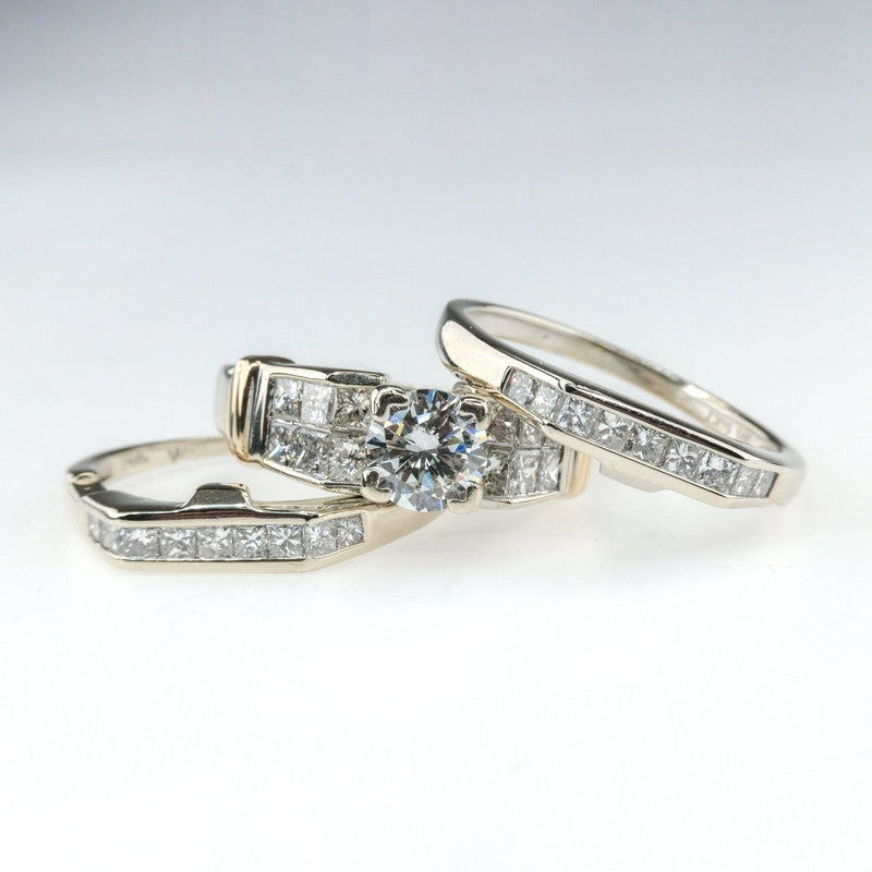 3.00ctw Diamond Engagement Ring & Wedding Bands Bridal Set in 14K Two Tone Gold Bridal Sets OaksJewelry