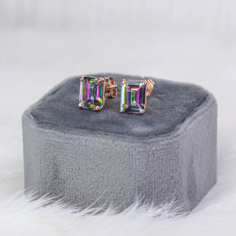 3.00ctw Emerald Cut Mystic Topaz Stud Earrings in 14K Rose Gold Earrings Oaks Jewelry
