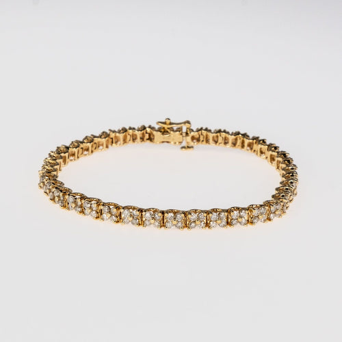 "3.00ctw Round Diamond Accented Cluster 6.75"" Tennis Bracelet in 14K Yellow Gold Bracelets Oaks Jewelry"