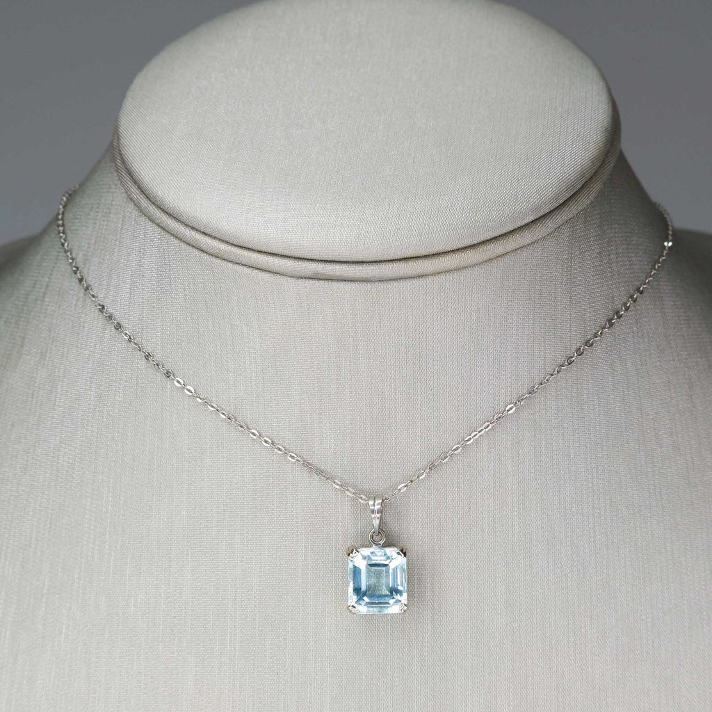 "3.08ct Emerald Cut Aquamarine Solitaire Pendant on 15"" Cable Chain in White Gold Pendants with Chains Oaks Jewelry"