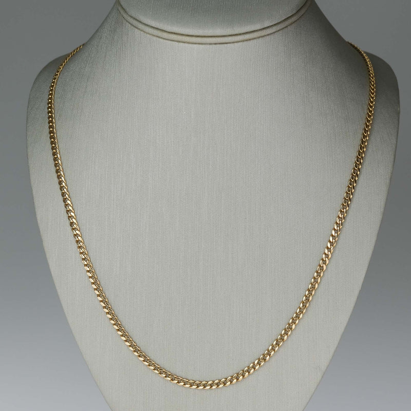 "3.1mm Wide Curb 26.75"" Chain in 18K Yellow Gold Chains Oaks Jewelry"