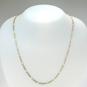 "3.2mm Wide Figaro Link 24"" Chain Necklace in 10K Tri-color Gold - 4.8 grams Chains Oaks Jewelry"