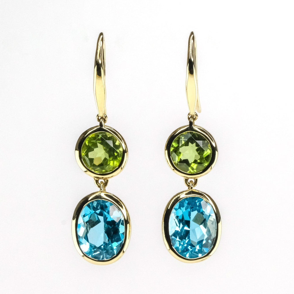 3.40ctw Blue Topaz w/ Peridot Drop Dangle Gemstone Earring in 14K Yellow Gold Earrings Oaks Jewelry