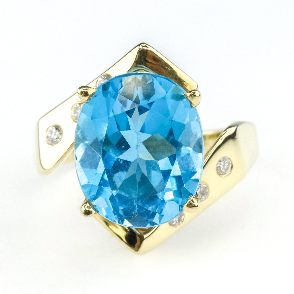 3.50ct Swiss Blue Topaz w/ Diamond Accented Gemstone Ring in 14K Yellow Gold Gemstone Rings Oaks Jewelry