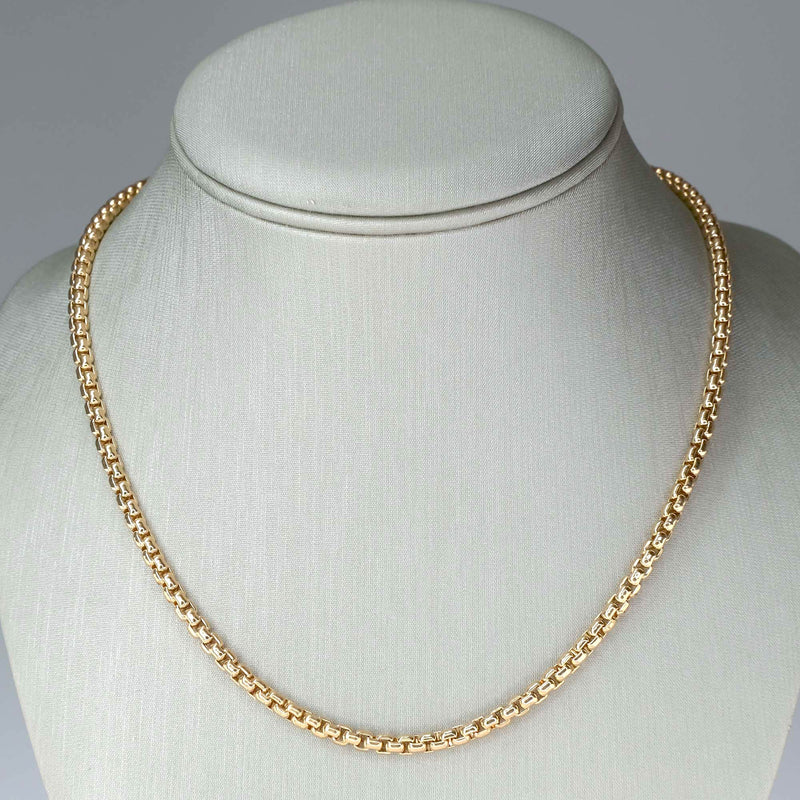 "3.5mm Wide 27"" Venetian Box Link Chain in 10K Yellow Gold - 35.9 grams Chains Oaks Jewelry"