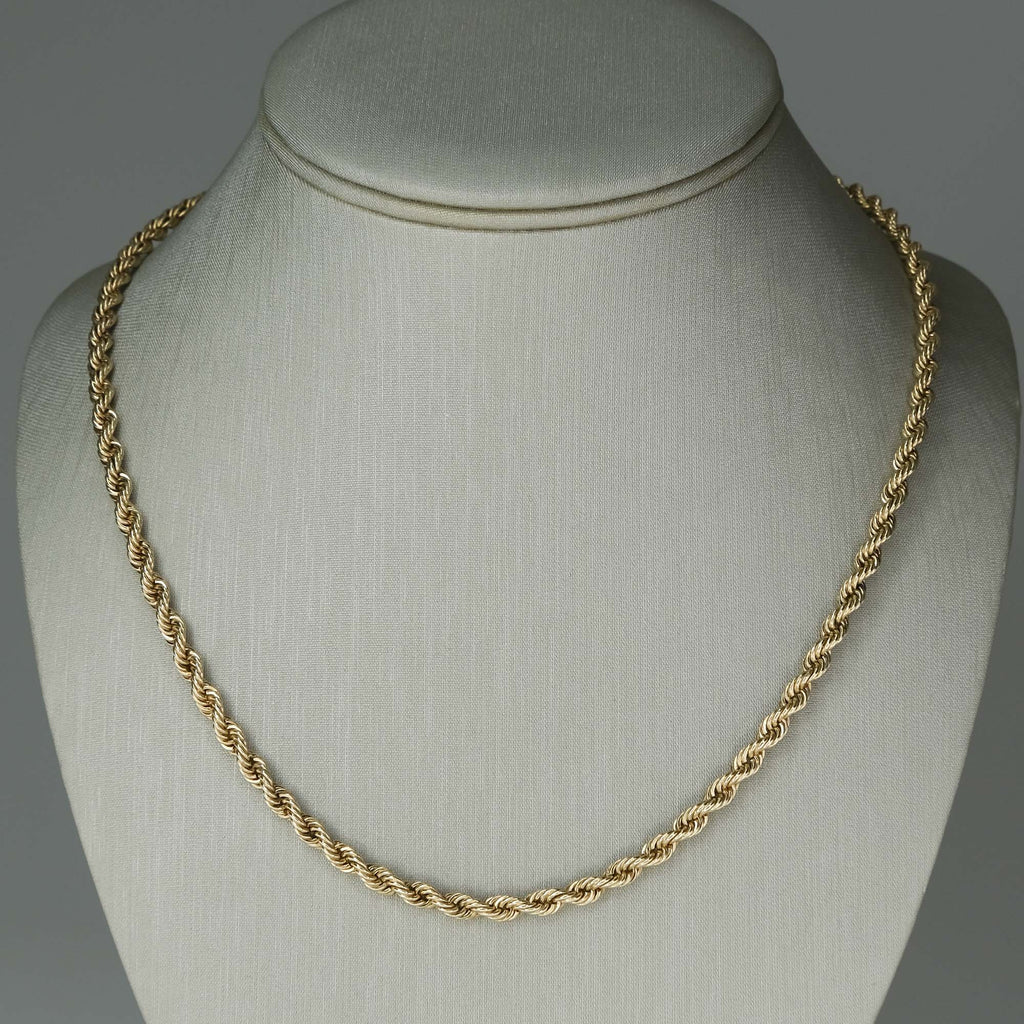 "3.8mm Wide Rope 18"" Chain in 14K Yellow Gold Chains Oaks Jewelry"