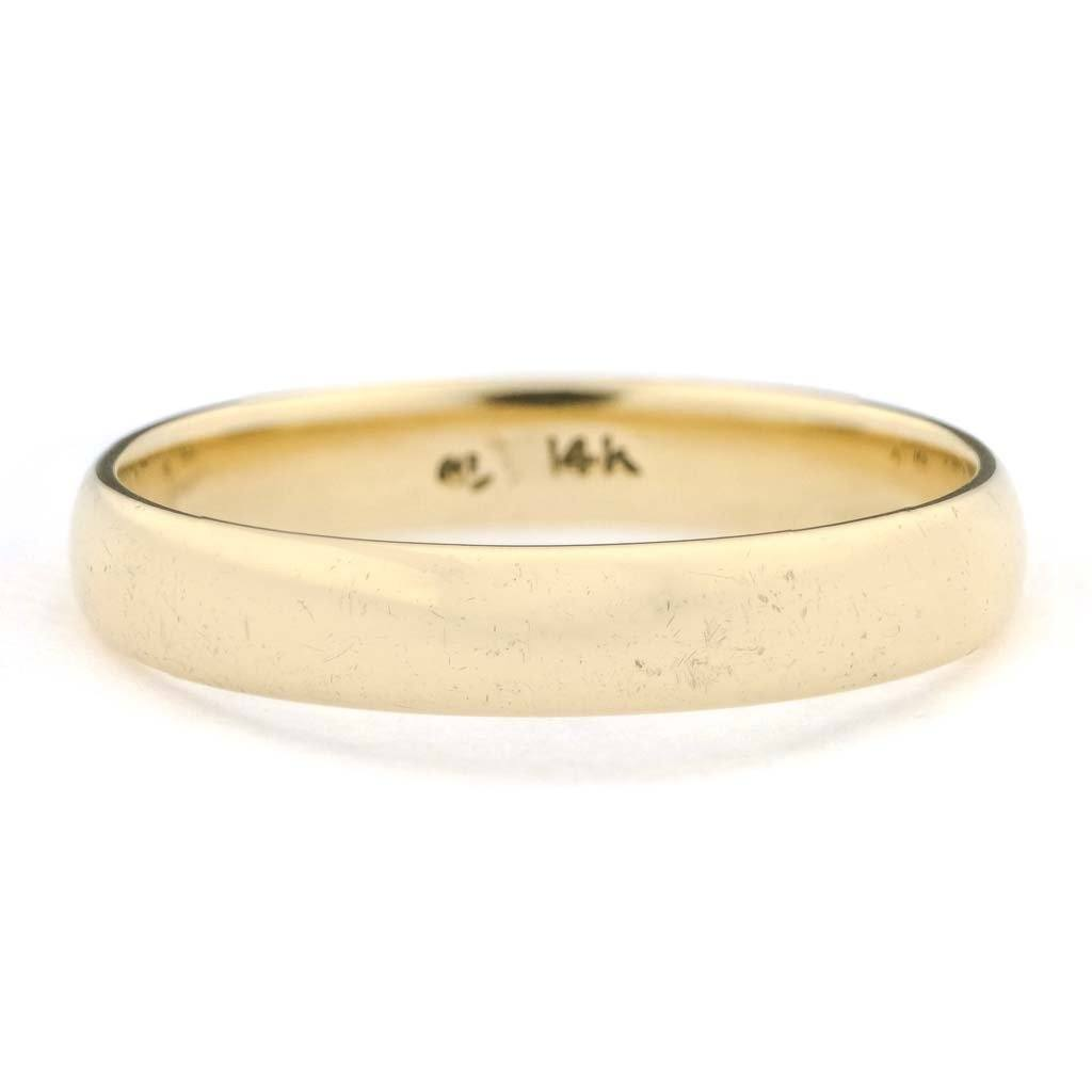 3.9mm Wide Half Round Wedding Band in 14K Yellow Gold Wedding Rings Oaks Jewelry