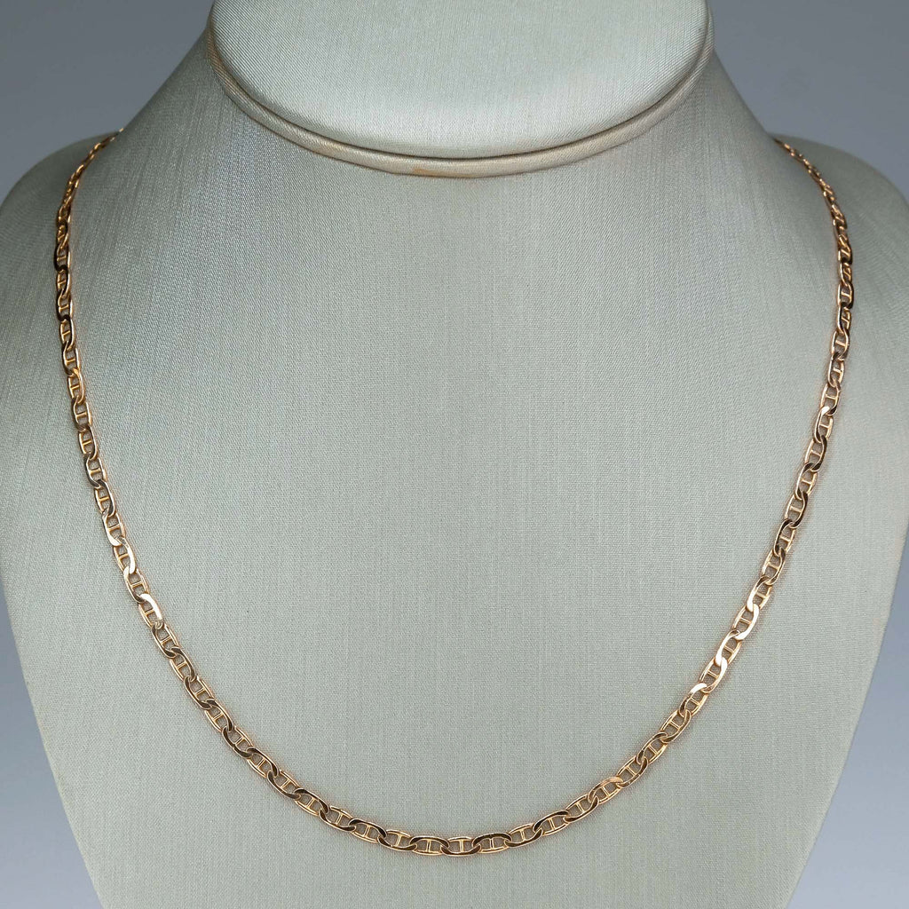 "3mm Wide Mariner Gucci Link 20.25"" Chain Necklace in 14K Rose Gold Chains Oaks Jewelry"