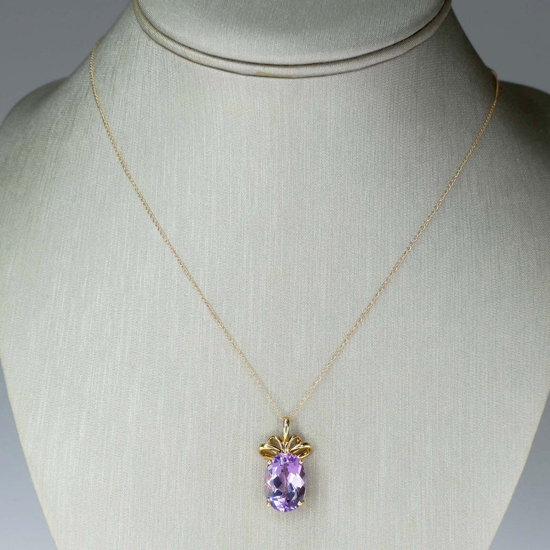 "4.00ct Oval Amethyst Solitaire Pendant on 18"" Chain in 14K Yellow Gold Pendants with Chains Oaks Jewelry"