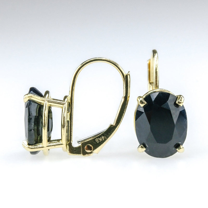 4.26ctw Oval Natural Sapphire Solitaire Lever back Earrings in 14K Yellow Gold Earrings Oaks Jewelry