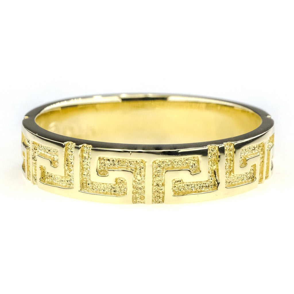 4.3mm Wide Greek Key Design Wedding Band in 14K Yellow Gold Wedding Rings Oaks Jewelry