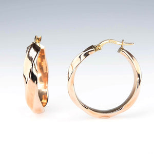 4.8mm Wide Hollow Twisted Round Hoop Earrings in 14K Rose Gold Earrings Oaks Jewelry