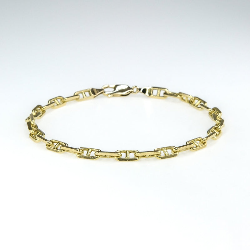 "4.8mm Wide Mariner Link 9"" Bracelet in 14K Yellow Gold Bracelets Oaks Jewelry"