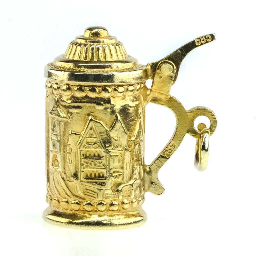 Detailed Beer Stein of Rothenburg Charm Pendant in 14K Yellow Gold