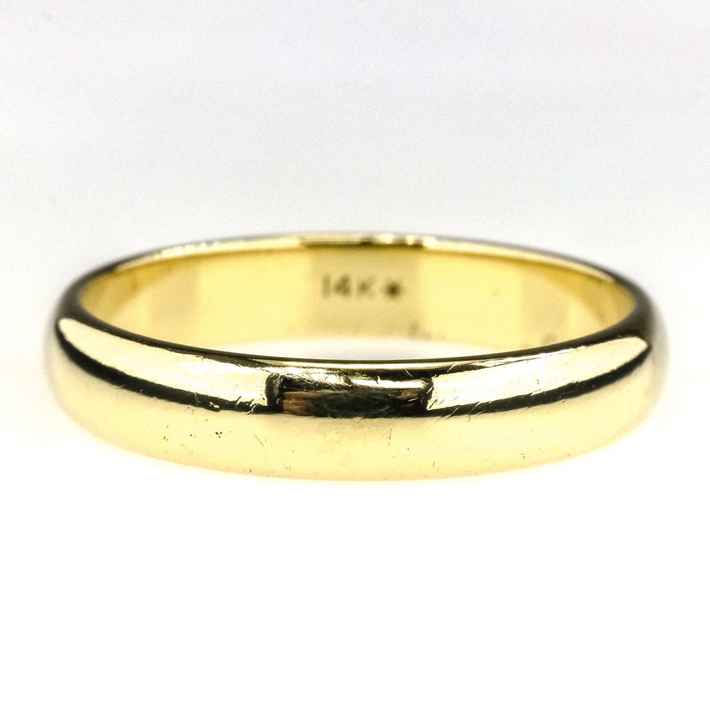 4mm Wide Half Round Wedding Band Ring in 14K Yellow Gold Wedding Rings Oaks Jewelry