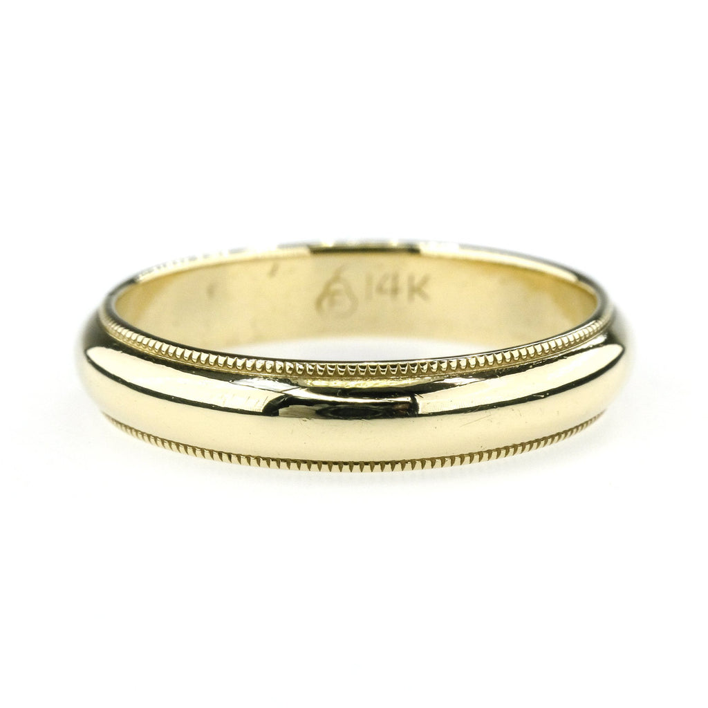 4mm Wide Milgrain Half Round Wedding Band Ring in 14K Yellow Gold Wedding Rings Oaks Jewelry