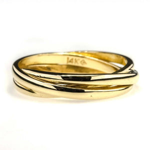4mm Wide Three Band Faux Rolling Band in 14K Yellow Gold Metal Rings Oaks Jewelry