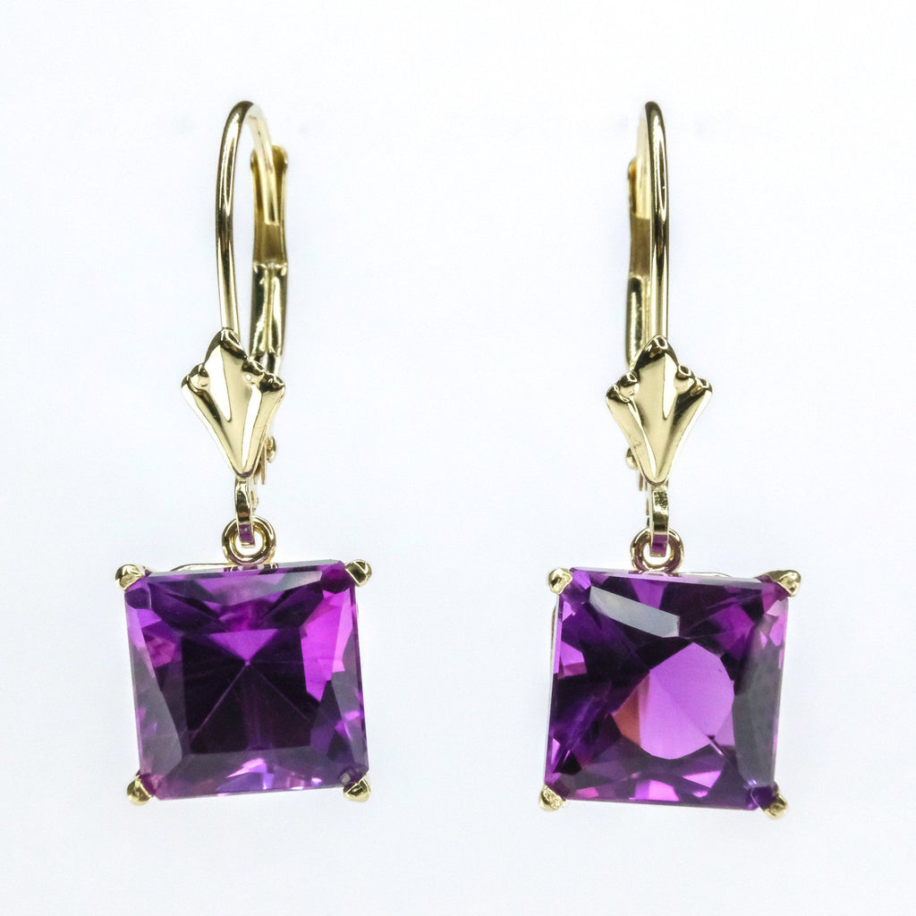 5.00ctw Princess Cut Amethyst Solitaire Lever back Earrings in 14K Yellow Gold Earrings Oaks Jewelry