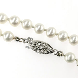 "5.25mm Wide White Freshwater Pearl 18"" Single Strand Necklace in 14K White Gold Necklaces Oaks Jewelry"