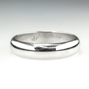 5.2mm Wide Half Round Wedding Band Ring Size 10.75 in 14K White Gold Wedding Rings Oaks Jewelry