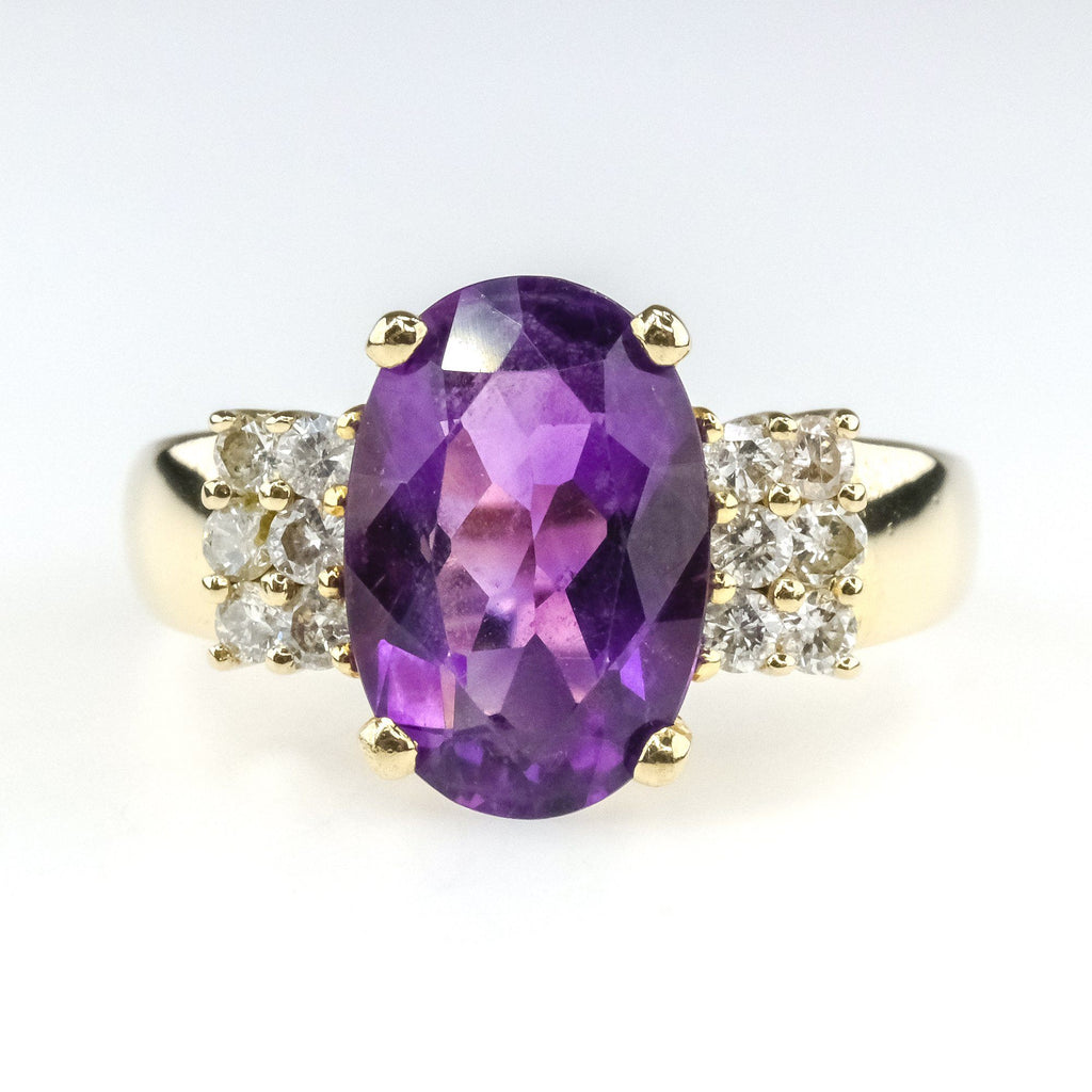 5.75ct Oval Amethyst & Round Diamond Accents Gemstone Ring in 14K Yellow Gold Gemstone Rings Oaks Jewelry