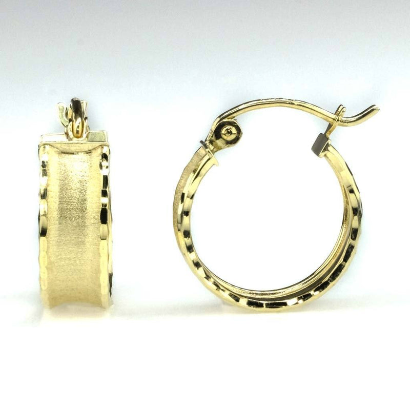 5mm Wide Diamond Cut Huggie Hoop Earrings in 10K Yellow Gold Earrings Oaks Jewelry