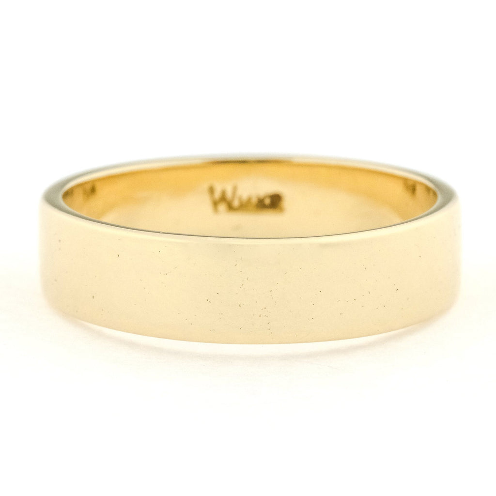 5mm Wide Flat Edge Half Round Wedding Band Ring in 14K Yellow Gold Wedding Rings Oaks Jewelry