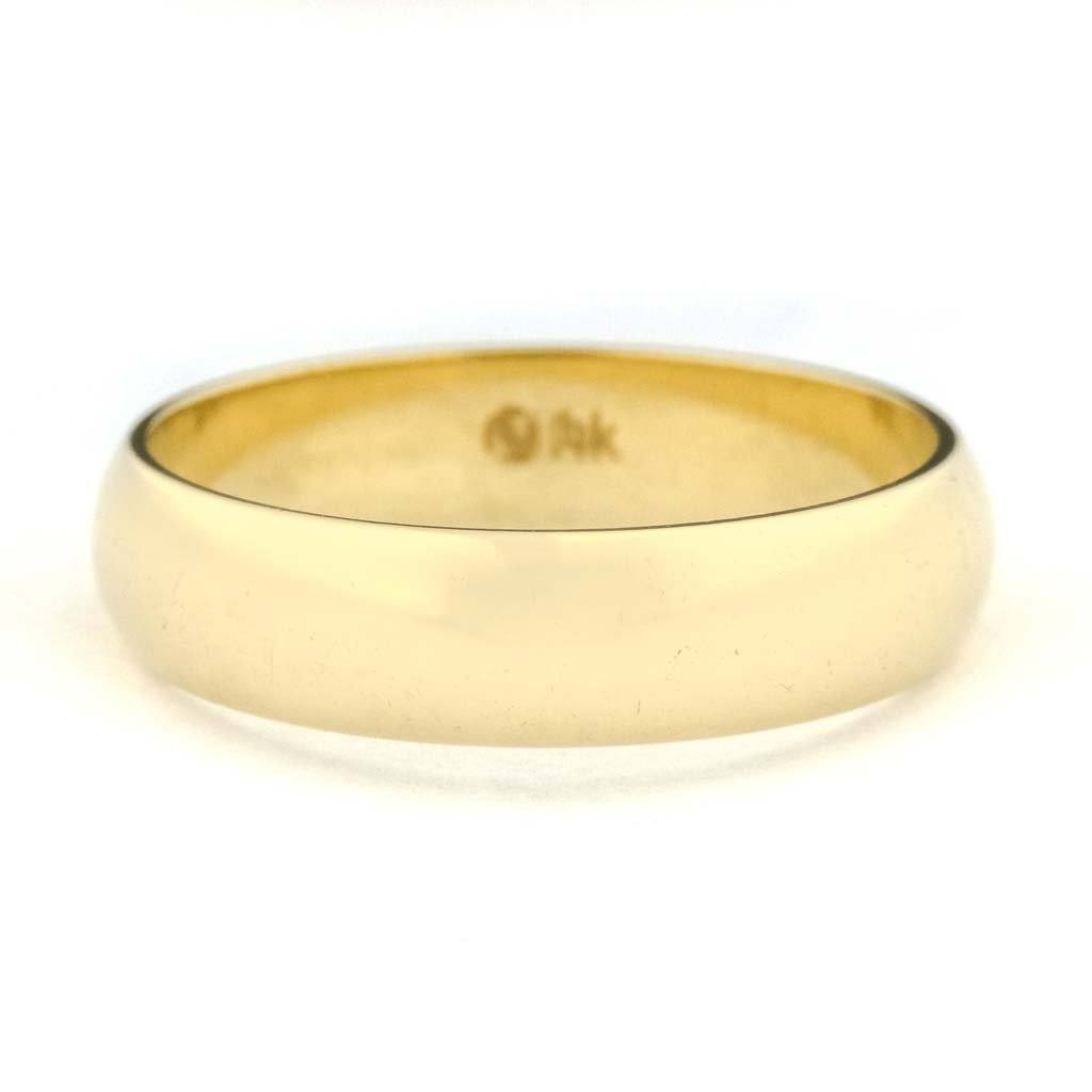 5mm Wide Half Round Wedding Band in 14K Yellow Gold Wedding Rings Oaks Jewelry