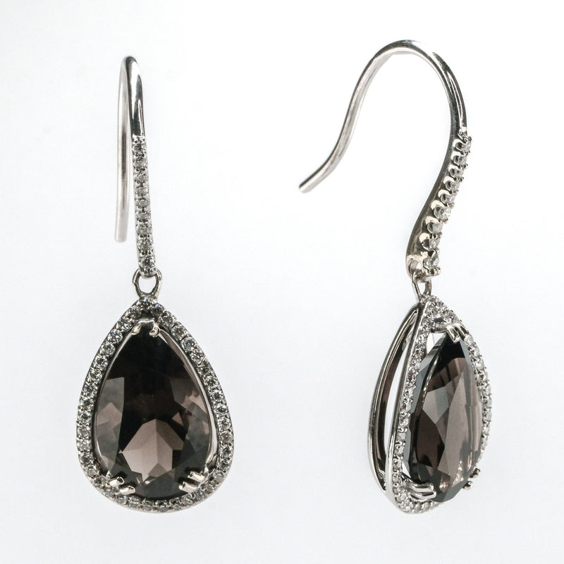 6.00ctw Smokey Quartz & Diamond Accents Teardrop Dangle Earrings 14K White Gold Earrings Oaks Jewelry