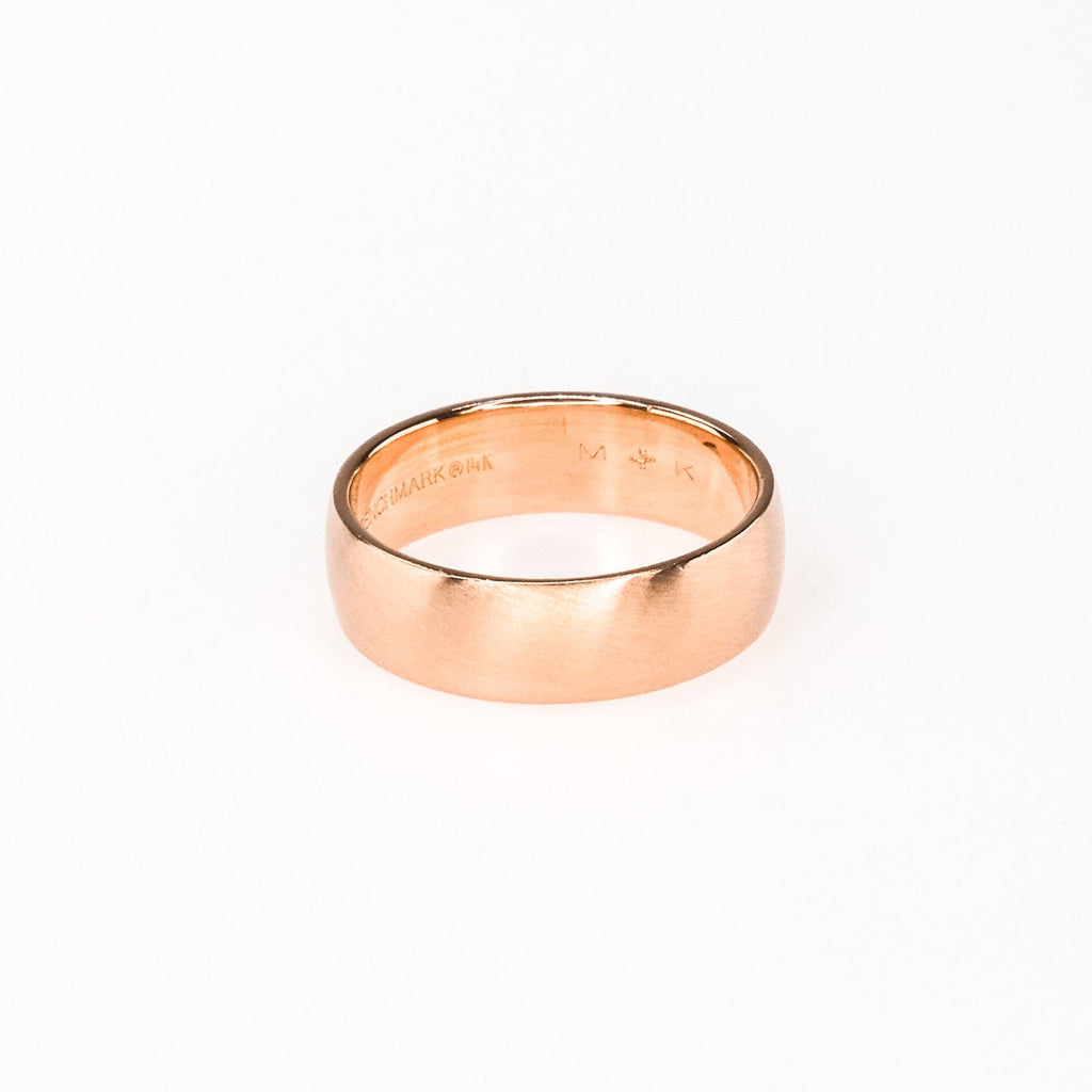 6.5mm Wide Brush Satin Finish Plain Band Wedding Ring Size 9.25 in 14K Rose Gold Wedding Rings Oaks Jewelry