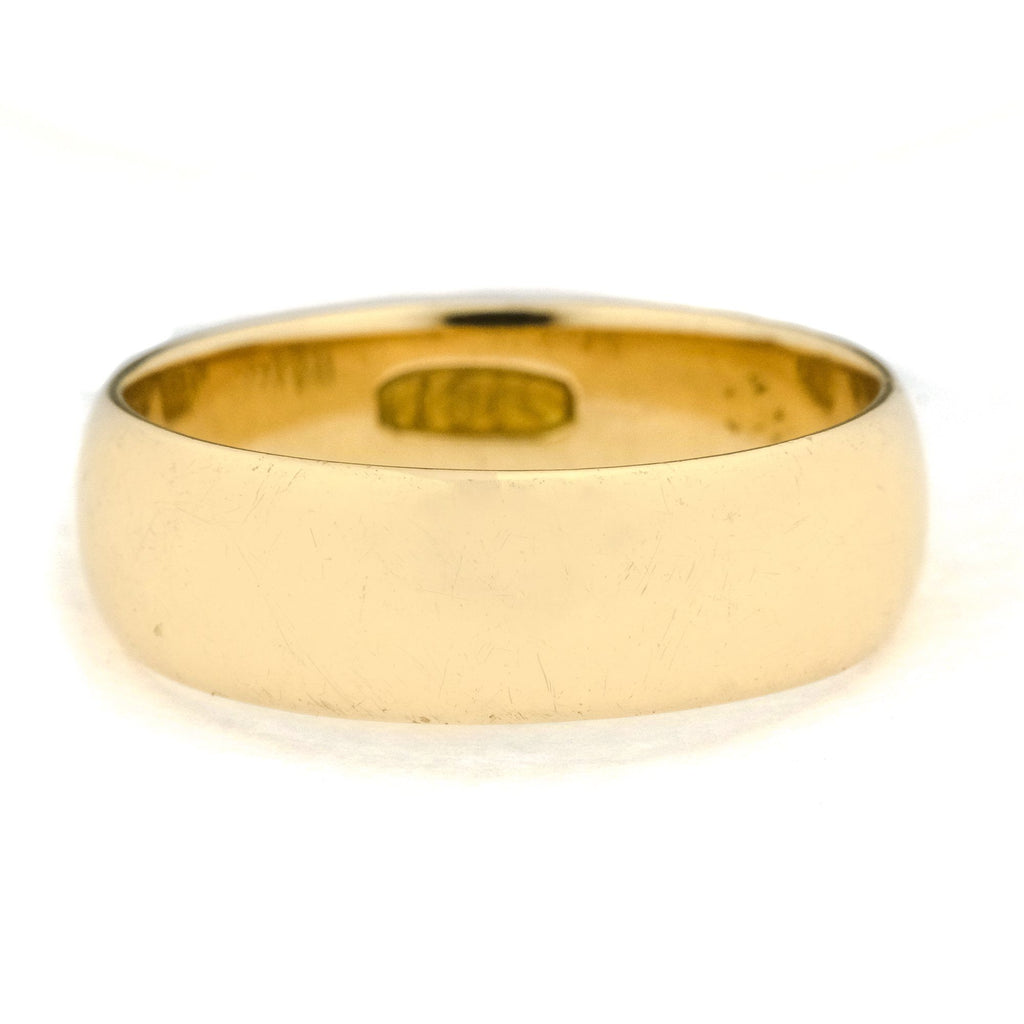 6.7mm Wide Half Round Wedding Band in 18K Yellow Gold Wedding Rings Oaks Jewelry